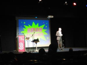 Brian on stage, Liberty Hall